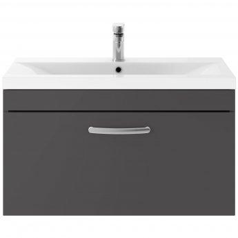 Premier Athena Wall Hung 1-Drawer Vanity Unit Basin-2 800mm Wide - Gloss Grey