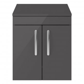 Premier Athena Wall Hung 2-Door Vanity Unit and Worktop 500mm Wide - Gloss Grey