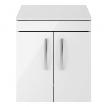 Premier Athena Wall Hung 2-Door Vanity Unit and Worktop 500mm Wide - Gloss White