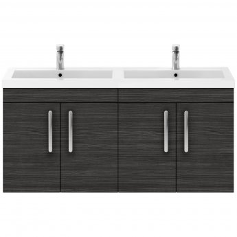 Premier Athena Wall Hung 4-Door Vanity Unit with Double Basin 1200mm Wide - Hacienda Black