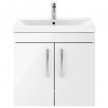 Premier Athena Wall Hung 2-Door Vanity Unit with Basin-3 600mm Wide - Gloss White