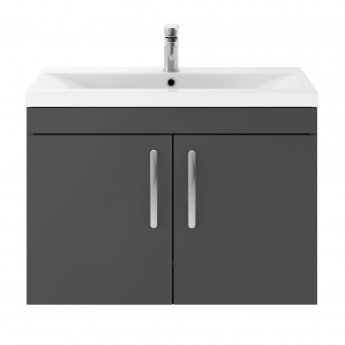 Premier Athena Wall Hung 2-Door Vanity Unit with Basin-3 800mm Wide - Gloss Grey