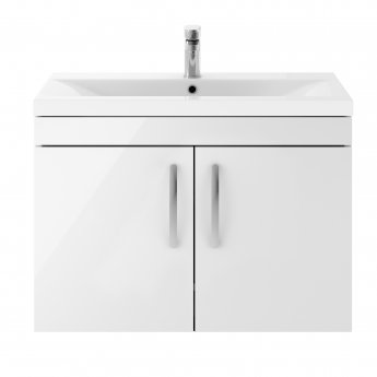 Premier Athena Wall Hung 2-Door Vanity Unit with Basin-3 800mm Wide - Gloss White