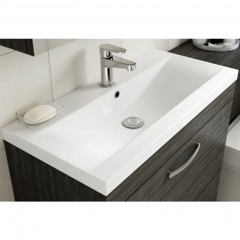 Premier Athena Wall Hung 2-Drawer Vanity Unit with Basin-1 800mm Wide - Gloss Grey Mist