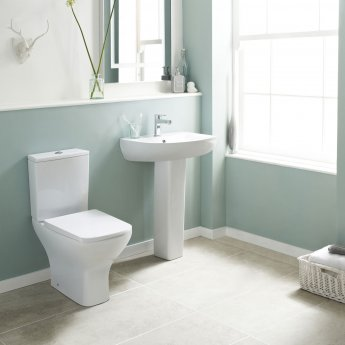 Nuie Ava Basin and Full Pedestal 545mm Wide - 1 Tap Hole