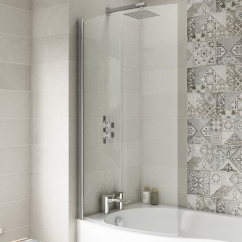 Nuie B-Shaped Shower Bath Screen, 1435mm High x 850-870mm Wide, 6mm Glass