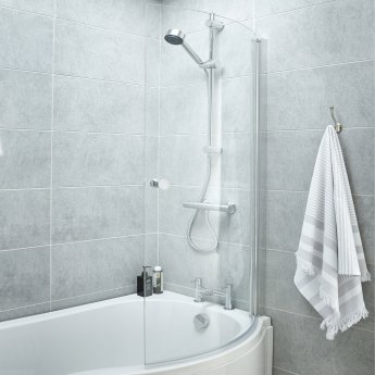 Nuie B-Shaped Shower Bath Screen with Rail, 1435mm High x 850-870mm Wide, 6mm Glass