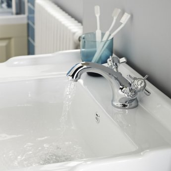 Nuie Beaumont Luxury Mono Basin Mixer Tap Dual Handle with Pop Up Waste - Chrome
