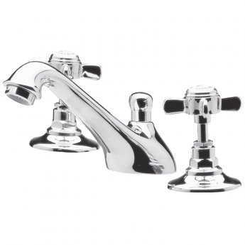 Nuie Beaumont 3-Hole Basin Mixer Tap Deck Mounted with Pop Up Waste - Chrome