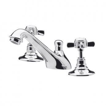 Premier Beaumont 3-Hole Basin Mixer Tap Deck Mounted with Pop Up Waste - Chrome