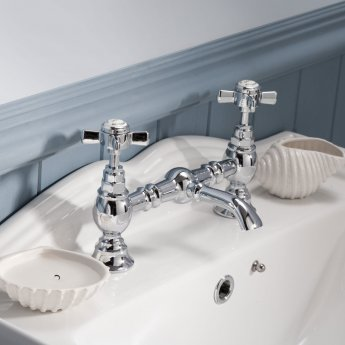 Nuie Beaumont Luxury 2-Hole Basin Mixer Tap Deck Mounted - Chrome