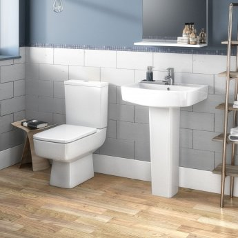 Nuie Bliss Basin and Full Pedestal 520mm Wide 1 Tap Hole