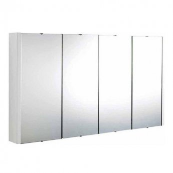 Premier Cardinal 4-Door Mirrored Cabinet 650mm H x 1200mm W White