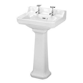 Nuie Carlton Basin and Full Pedestal 560mm Wide - 2 Tap Hole
