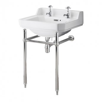 Nuie Carlton Basin with Washstand 560mm Wide - 2 Tap Hole