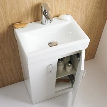 Premier Checkers White Floor Standing Vanity Unit with Basin 460mm Wide - 1 Tap Hole