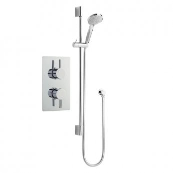 Nuie Rectangular Twin Valve Concealed Mixer Shower with Slider Rail Kit