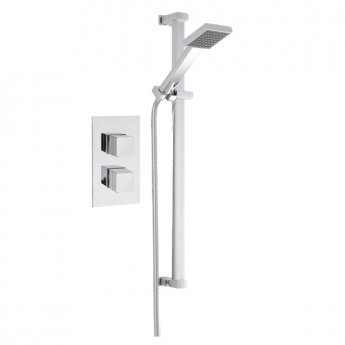 Nuie Rectangular Twin Valve Concealed Mixer Shower with Square Shower Head and Slider Rail