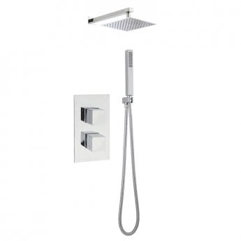 Nuie Rectangular Twin Valve Concealed Mixer Shower with Square Fixed Head and Handset