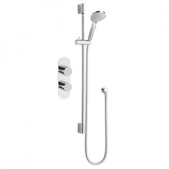 Nuie Rounded Twin Valve Concealed Shower Mixer Slider Rail Kit