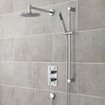 Nuie Contemporary Wall Mounted Shower Arm, 345mm Length, Chrome