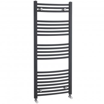 Nuie Curved Heated Towel Rail 1150mm H x 500mm W Anthracite