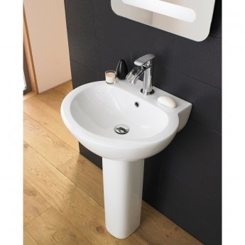 Nuie Darwin Basin with Full Pedestal 540mm Wide - 1 Tap Hole
