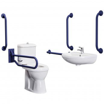 Nuie Close Coupled Doc M Pack, 5 x Grab Rails and Mixer Tap, Blue