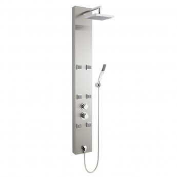 Premier Easton Thermostatic Shower Tower Panel 6 Square Body Jets Polished - Stainless Steel