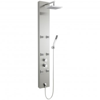 Nuie Easton Thermostatic Shower Tower Panel 6 Square Body Jets Polished - Stainless Steel