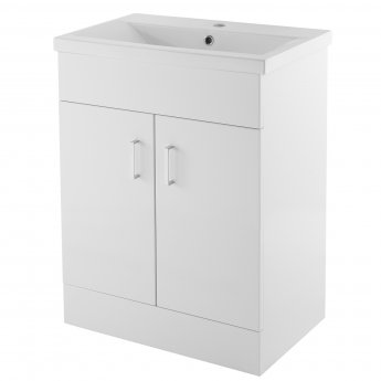 Premier Eden Floor Standing 2-Door Vanity Unit and Basin 2 Gloss White - 600mm Wide