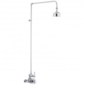 Nuie Edwardian Twin Exposed Thermostatic Shower Valve and Rigid Riser Kit - Chrome