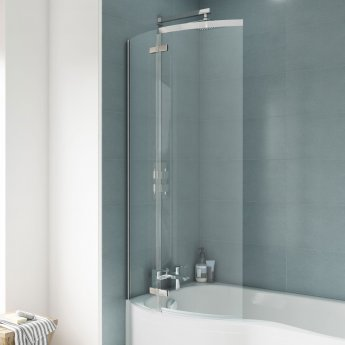 Nuie Ella P-Shaped Shower Bath Screen, 1400mm High x 740mm Wide, 5mm Glass