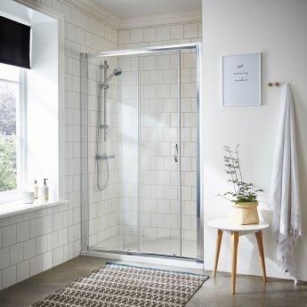 Nuie Ella Sliding Shower Door 1000mm Wide - 5mm Glass Chrome