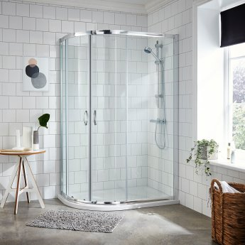 Nuie Ella Offset Quadrant Shower Enclosure 1200mm x 800 with Shower Tray LH 5mm