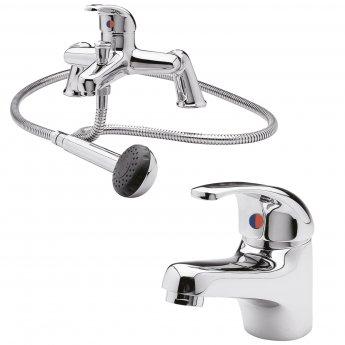 Premier Eon Mono Basin Mixer Tap and Bath Shower Mixer Tap Pillar Mounted, Chrome