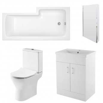 Premier Freya Complete Furniture Suite with 600mm Vanity Unit and L-Shaped Shower Bath 1700mm LH