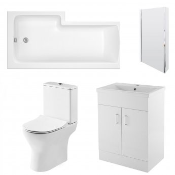 Nuie Freya Complete Furniture Suite with 600mm Vanity Unit and L-Shaped Shower Bath 1700mm RH