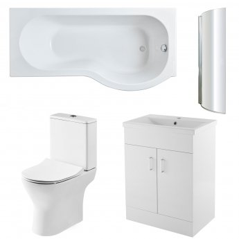 Premier Freya Complete Furniture Suite with 600mm Vanity Unit and P-Shaped Shower Bath 1700mm RH