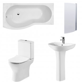 Premier Freya Complete Bathroom Suite with B-Shaped Shower Bath 1700mm - Left Handed