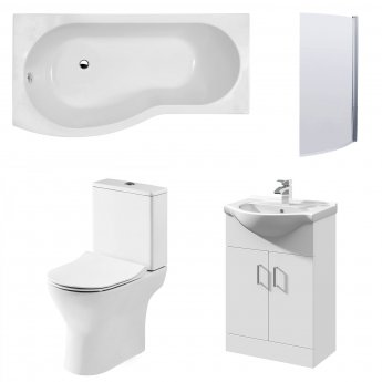 Premier Freya Complete Furniture Suite with Vanity Unit and B-Shaped Shower Bath 1700mm LH