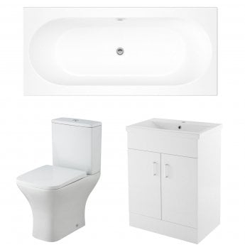 Premier Freya Complete Furniture Suite with 600mm Vanity Unit and 1800mm Double Ended Bath