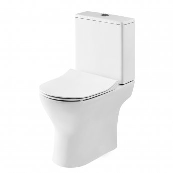 Premier Freya Close Coupled Toilet with Push Button Cistern - Soft Close Seat