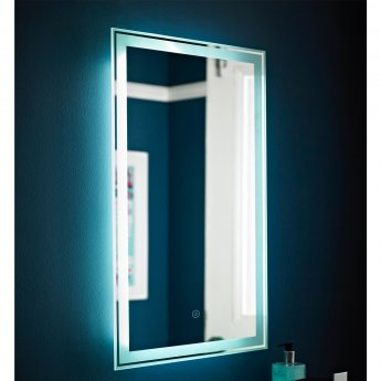 Nuie Glow Bathroom Mirror, 700mm High x 500mm Wide, Stainless Steel