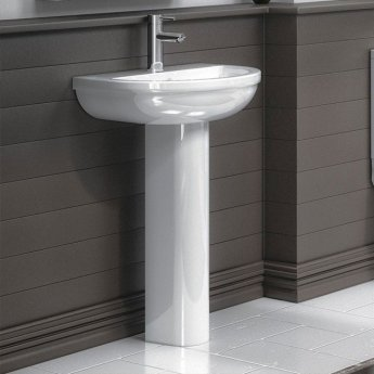 Premier Harmony Basin and Full Pedestal 500mm Wide - 1 Tap Hole