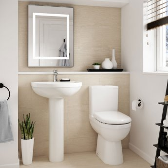Nuie Ivo Basin and Full Pedestal 555mm Wide - 1 Tap Hole