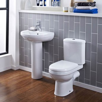 Nuie Ivo Basin and Full Pedestal 555mm Wide - 2 Tap Hole