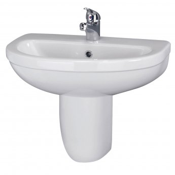 Nuie Ivo Basin and Semi Pedestal 555mm Wide - 1 Tap Hole