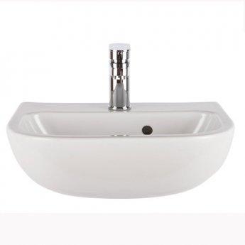Nuie Jasmine Mini Semi-Recessed Basin, 420mm Wide, 1 Tap Hole