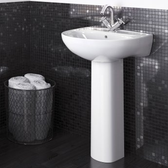 Nuie Lawton Basin and Full Pedestal 550mm Wide - 1 Tap Hole